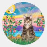 Am. SH Tabby Tiger Cat - Guardian Angel (#2) Round Sticker