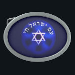 "Am Yisrael Chai Belt Buckle<br><div class=""desc"">A light-colored Star of David on a dark blue background. Hebrew text reads, &quot;Am Yisrael Chai&quot; (The people of Israel live!). Amalek is with us always. In every generation they come to kill us, but the Jewish people survive. Then came Amalek and attacked Israel in Rephidim... (Exodus 17:1-8) Remember what...</div>"