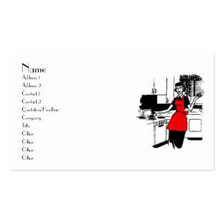 ama de casa de los años 50 con el delantal rojo tarjeta de visita