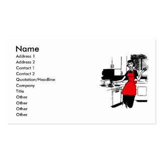 ama de casa de los años 50 con el delantal rojo tarjetas de visita