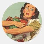 Ama de casa del vintage pegatina redonda