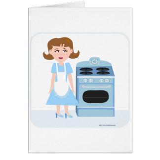 Ama de casa descarada de los años 50 tarjeta de felicitación