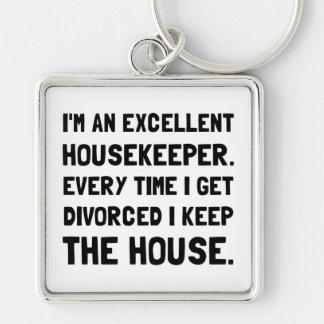 Ama de casa divorciada llavero cuadrado plateado