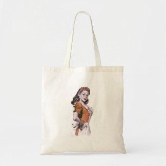 Ama de casa feliz del kitsch retro de las mujeres  bolsa tela barata