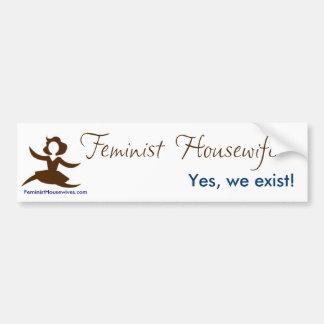 Ama de casa feminista - sí existimos etiqueta de parachoque