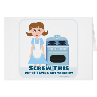 Ama de casa fresca tarjeta de felicitación