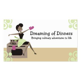Ama de casa retra afroamericana que cocina la horn plantillas de tarjetas personales