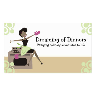 Ama de casa retra afroamericana que cocina la tarjetas de visita