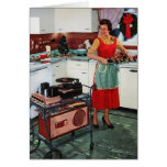ama de casa retra del vintage de los años 50 en co tarjetas