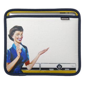 Ama de casa retra divertida con la lavadora fundas para iPads