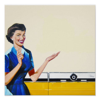 Ama de casa retra divertida con la lavadora poster