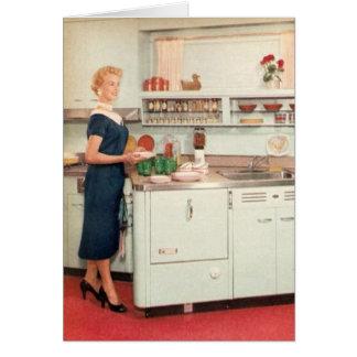 Ama de casa retra en cocina tarjeta de felicitación