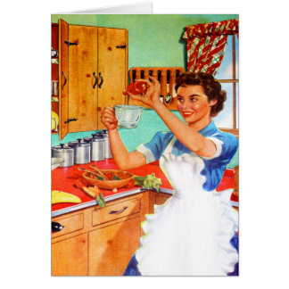 Ama de casa suburbana del kitsch del vintage que tarjeta