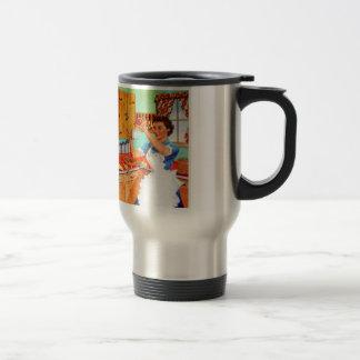 Ama de casa suburbana del kitsch del vintage que taza de café