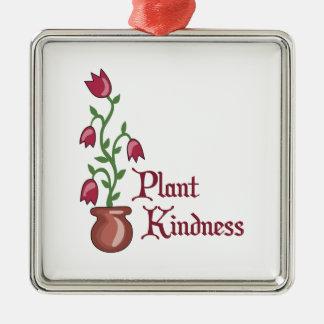 Amabilidad de la planta adorno navideño cuadrado de metal