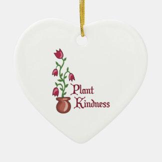 Amabilidad de la planta adorno navideño de cerámica en forma de corazón