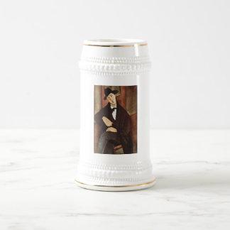 Amadeo Modigliani -Porträt des Mario Varfogli 1919 Beer Stein
