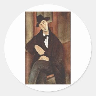 Amadeo Modigliani -Porträt des Mario Varfogli 1919 Classic Round Sticker