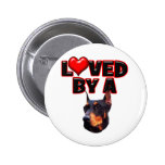 Amado por un Doberman 2 Pin Redondo 5 Cm