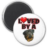 Amado por un Rottweiler 2 Imán De Nevera