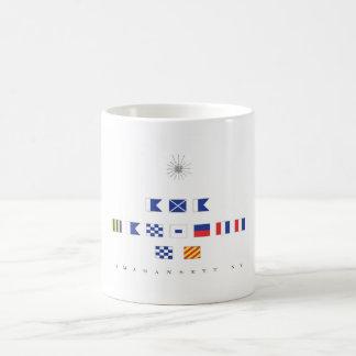 Amagansett, Long Island NY Nautical Flags Classic White Coffee Mug