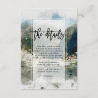 Amalfi Coast, Italy wedding details information Enclosure Card