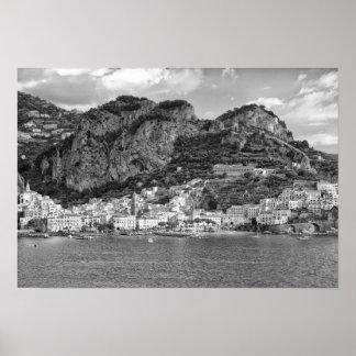 Amalfi Coast Monochromatic Poster
