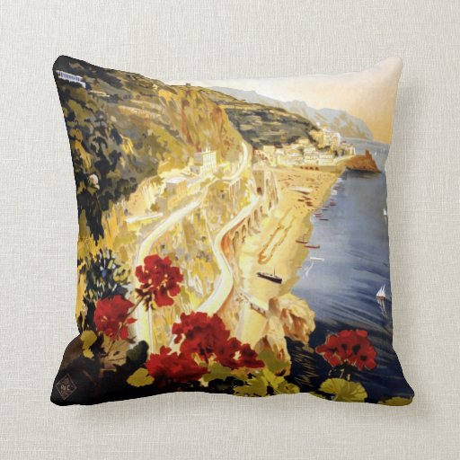 Amalfi Coastline Italian Travel Poster 1910 - 1920 Pillows