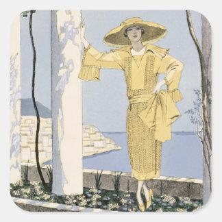 Amalfi, ejemplo de una mujer en un vestido pegatinas cuadradases