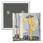 Amalfi, illustration of a woman in a yellow dress 2 inch square button