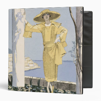 Amalfi, illustration of a woman in a yellow dress 3 ring binders
