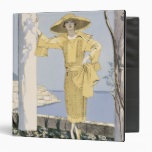 Amalfi, illustration of a woman in a yellow dress vinyl binder