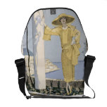 Amalfi, illustration of a woman in a yellow dress courier bags