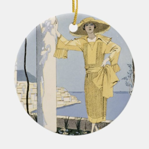 Amalfi, illustration of a woman in a yellow dress Double-Sided ceramic round christmas ornament