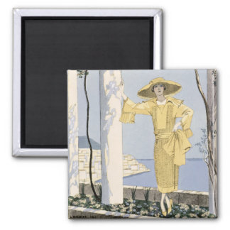 Amalfi, illustration of a woman in a yellow dress magnet