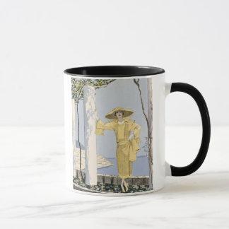 Amalfi, illustration of a woman in a yellow dress mug