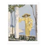 Amalfi, illustration of a woman in a yellow dress postcard