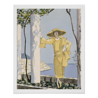Amalfi, illustration of a woman in a yellow dress print