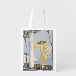 Amalfi, illustration of a woman in a yellow dress reusable grocery bags