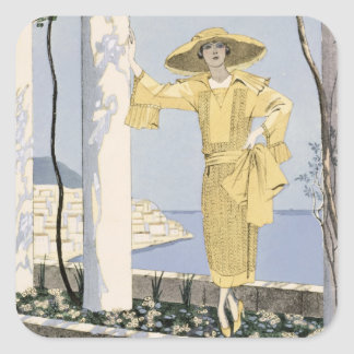 Amalfi, illustration of a woman in a yellow dress square sticker