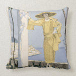 Amalfi, illustration of a woman in a yellow dress throw pillow