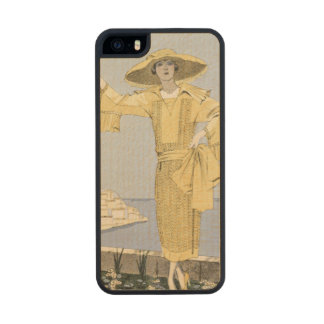 Amalfi, illustration of a woman in a yellow dress carved® maple iPhone 5 slim case