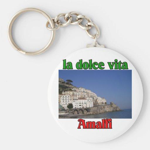 Amalfi Italia Llavero Redondo Tipo Pin