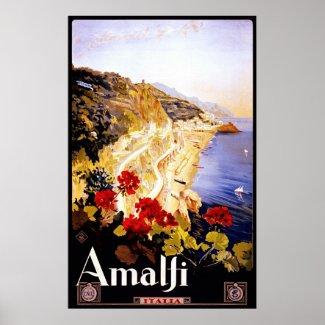 Amalfi ~ Italia ~ Vintage Italian Travel Canvas. Posters