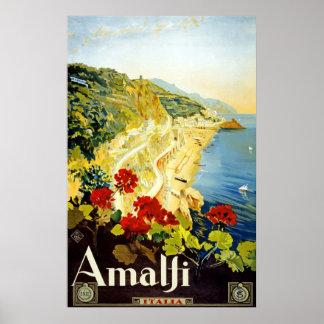 Amalfi Italian Coast Vintage Travel Poster