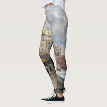 Beach Themed Amalfi Italy Fishing Boats All Over Print Leggings