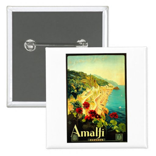 Amalfi Italy Italia VintageTravel Advertisement 2 Inch Square Button