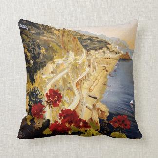 Amalfi Italy vintage travel throw pillow Throw Cushion