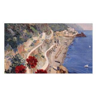 Amalfi Napoli Italy Vintage Italian Travel Poster Double-Sided Standard Business Cards (Pack Of 100)