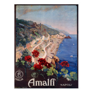 Amalfi Napoli Italy Vintage Italian Travel Poster Postcard